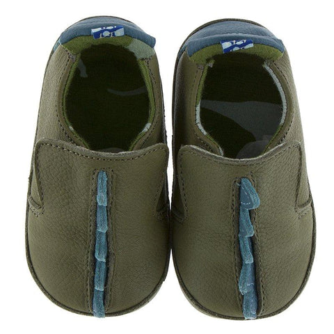Kickee Pants Leather Soft Sole Infant Shoe - Moss Dinosaur