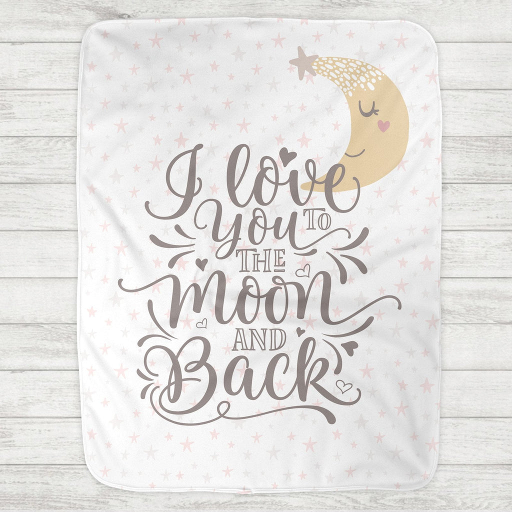 I Love You To The Moon And Back Baby Blanket - Moon & Stars (Personalized Version Also Available) - The Milk Moustache