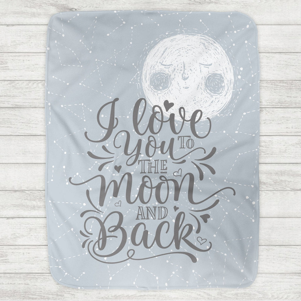 I Love You To The Moon And Back Baby Blanket - Blue Moon (Personalized Version Also Available) - The Milk Moustache