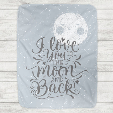 I Love You To The Moon And Back Baby Blanket - Blue Moon (Personalized Version Also Available)