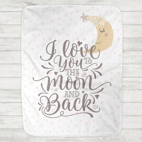 I Love You To The Moon And Back Baby Blanket - Pink Moon & Stars (Personalization Available) - The Milk Moustache
