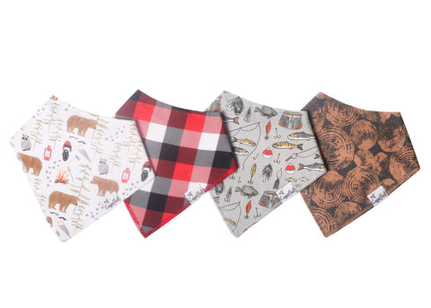 Copper Pearl Bandana Bib Set of 4 - Lumberjack - The Milk Moustache
