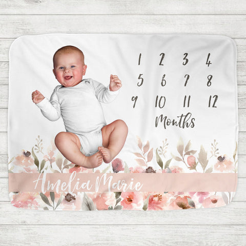 Style No. 1 Custom Personalized Monthly Milestone Baby Blanket & Photo Backdrop + Baby Bling Headband