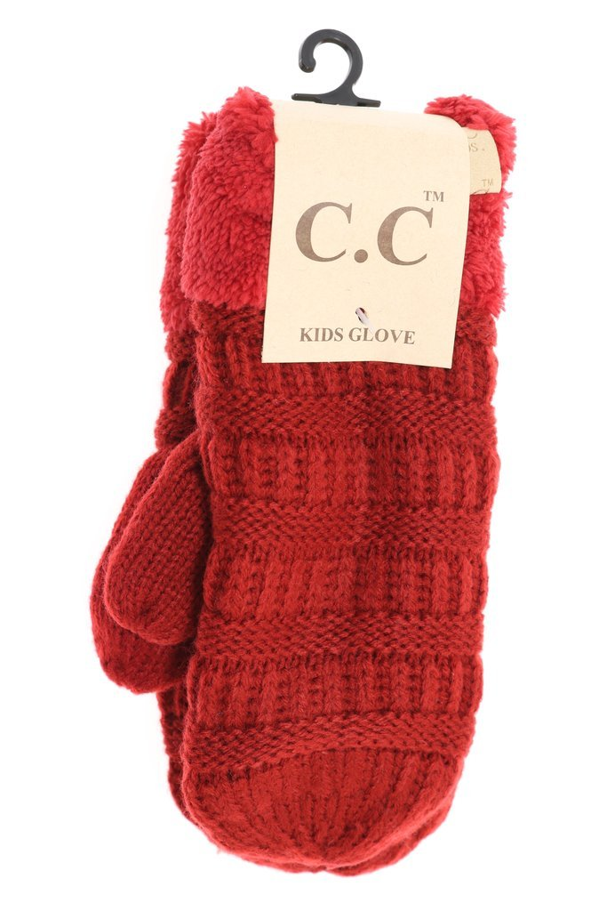 Kids Solid Fuzzy Lined Mittens from CC Beanie - 11 Color Options