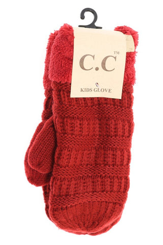 Kids Solid Fuzzy Lined Mittens from CC Beanie - Assorted Colors - The Milk Moustache