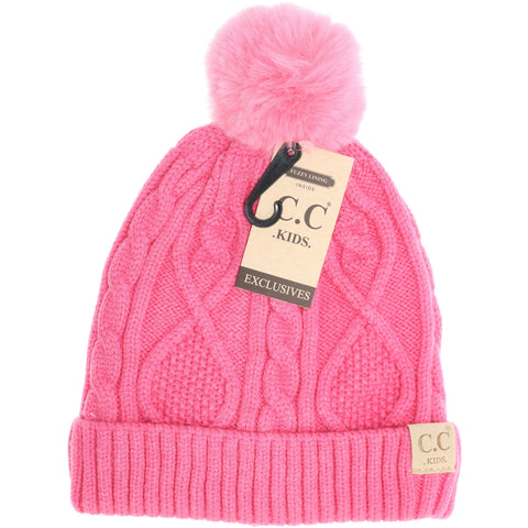 Kids CC Beanie Kids Matching Fur Pom Beanies - Assorted Colors - The Milk Moustache