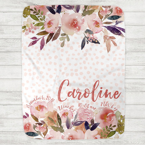 Custom Personalized Birth Stat Baby Blanket - Caroline Peach Floral - The Milk Moustache