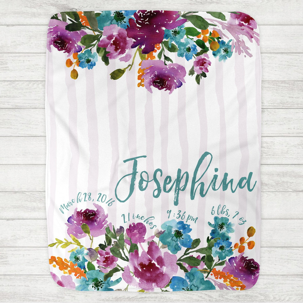 Custom Personalized Birth Stat Baby Blanket - Josephina Violet Floral - The Milk Moustache