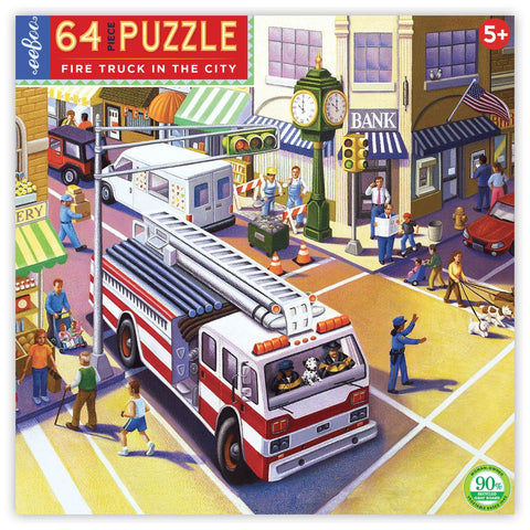 Fire Truck in the City 64-Piece Puzzle - The Milk Moustache