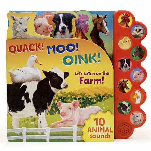 Quack! Moo! Oink! Let's Listen On The Farm Sound Book - The Milk Moustache