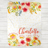 Custom Personalized Birth Stat Baby Blanket - Charlotte Yellow Floral - The Milk Moustache