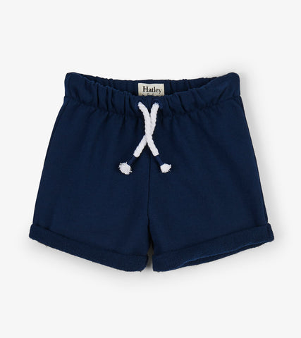 Hatley Navy French Terry Baby & Toddler Shorts - The Milk Moustache