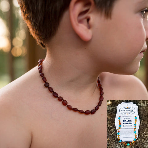 R.B. Amber Teething Necklaces - Assorted Styles & Sizes - The Milk Moustache
