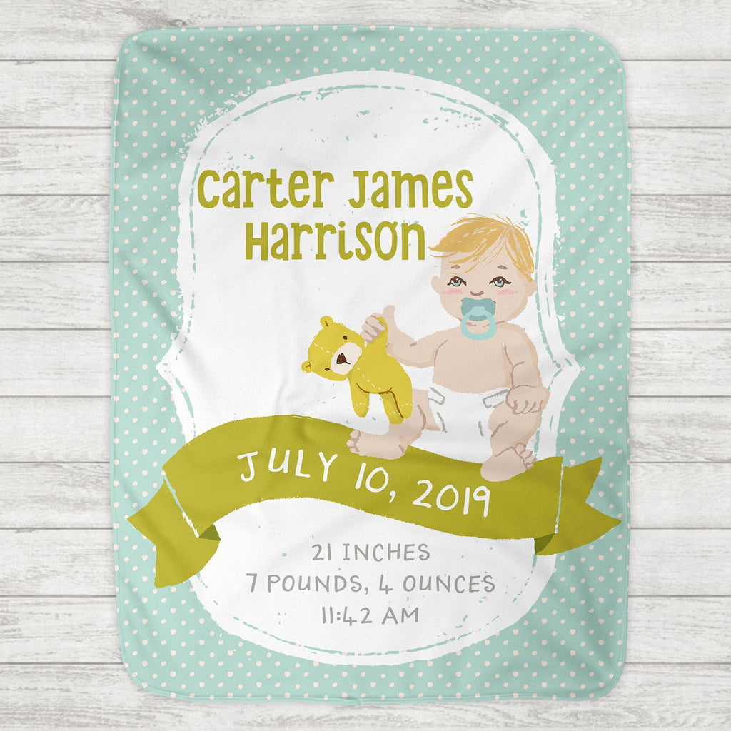 Custom Personalized Birth Stat Baby Blanket - Baby Boy - Customize Baby!