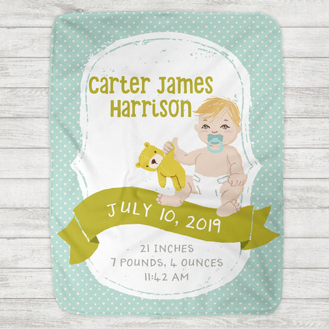 Custom Personalized Birth Stat Baby Blanket - Baby Boy - Customize Baby! - The Milk Moustache