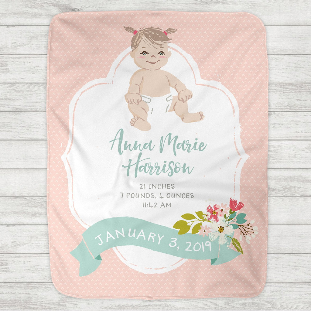 Custom Personalized Birth Stat Baby Blanket - Baby Girl - Customize Baby!
