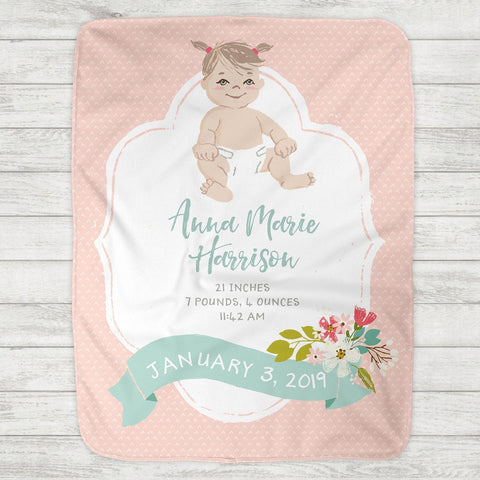 Custom Personalized Birth Stat Baby Blanket - Baby Girl - Customize Baby! - The Milk Moustache
