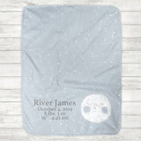 I Love You To The Moon And Back Baby Blanket - Blue Moon (Personalization Available) - The Milk Moustache