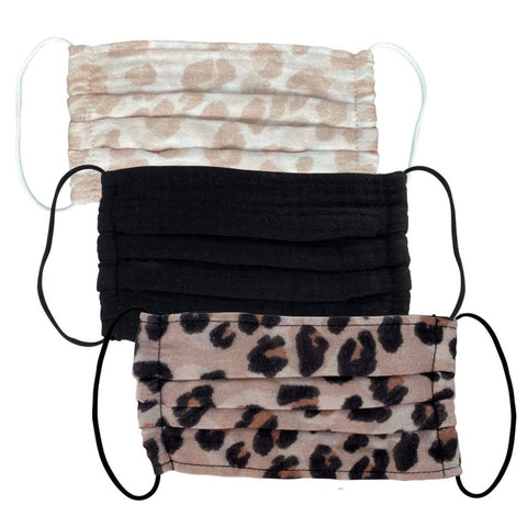 Women's Cotton Face Mask - Set of 3 - Leopard - The Milk Moustache