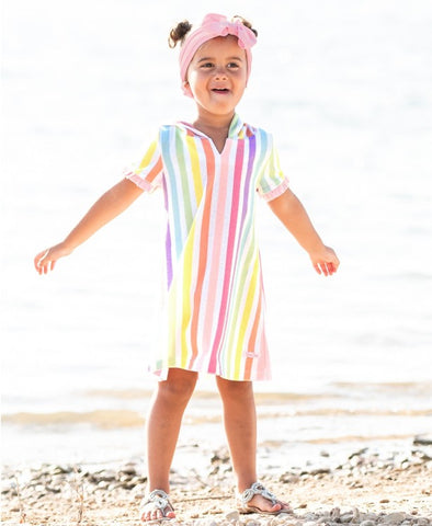 Rainbow Stripe Ruffle Terry Cover-Up - The Milk Moustache