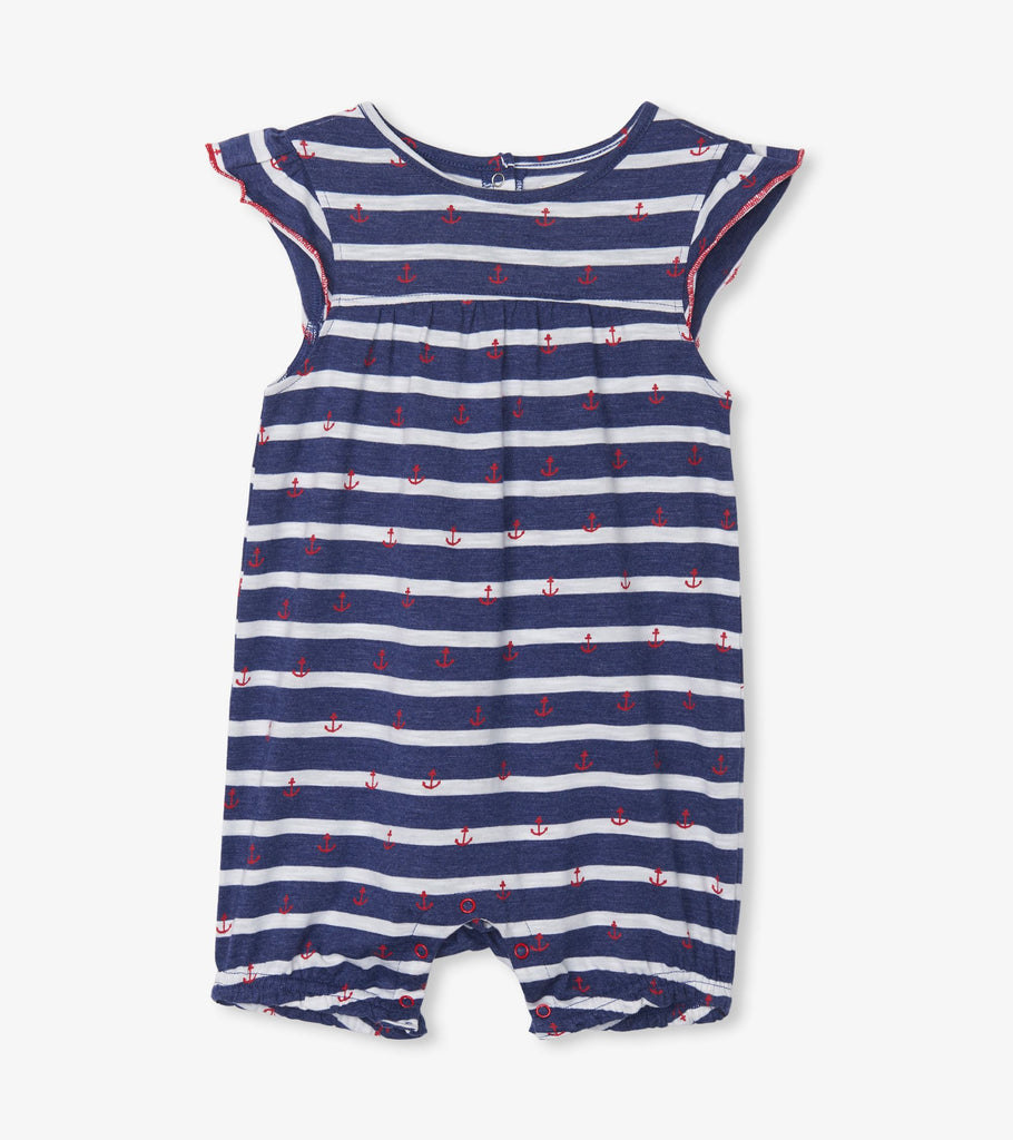 Hatley Nautical Stripe Baby Flutter Sleeve Romper - The Milk Moustache