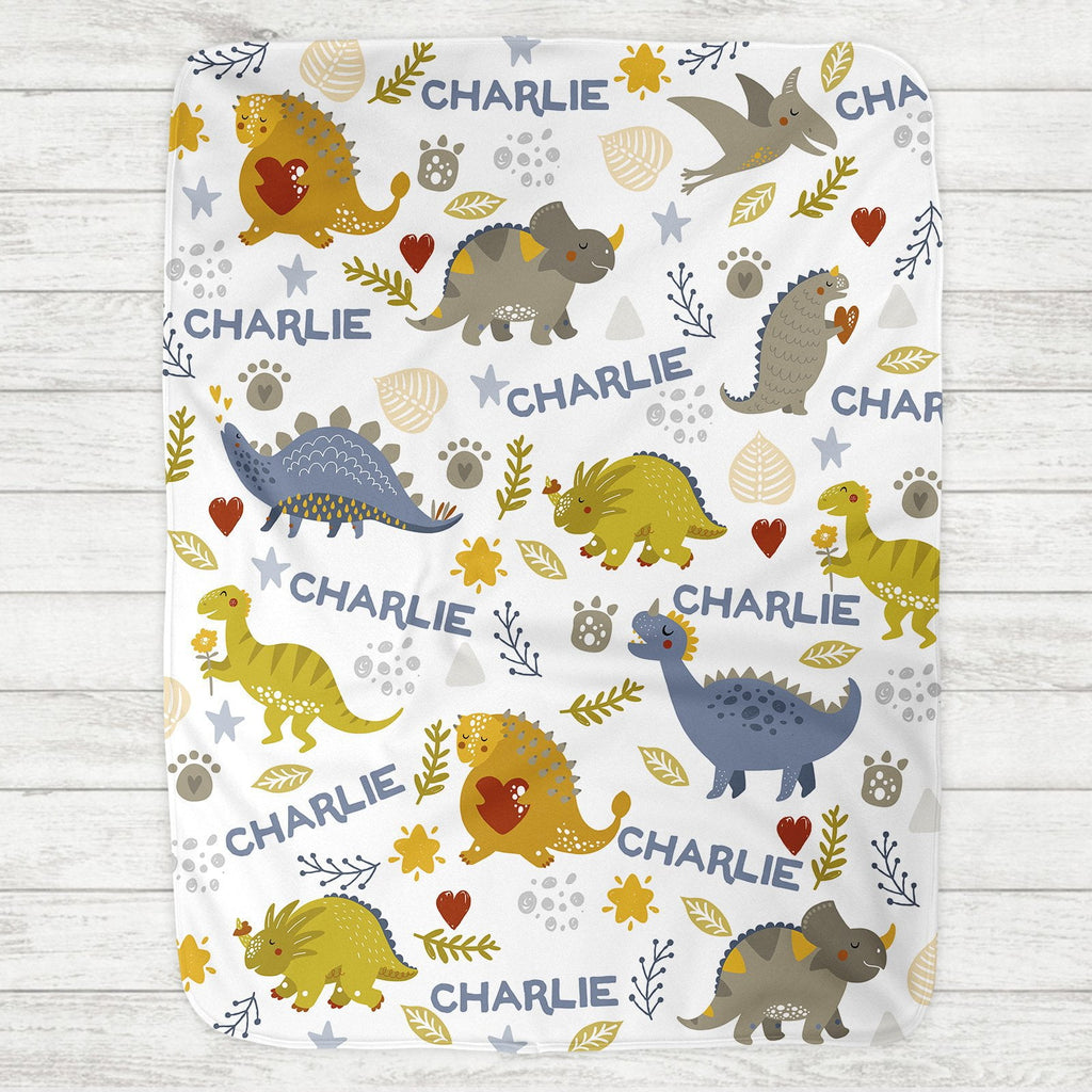 Custom Personalized Name Blanket - Dinosaur Love