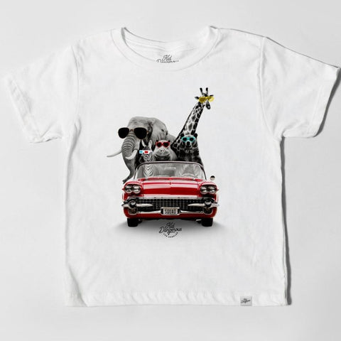Kid Dangerous Infant Tee - White Zoo Mobile - The Milk Moustache