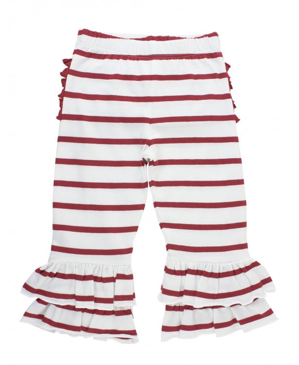 Cranberry & White Stripe Ruffle Pants
