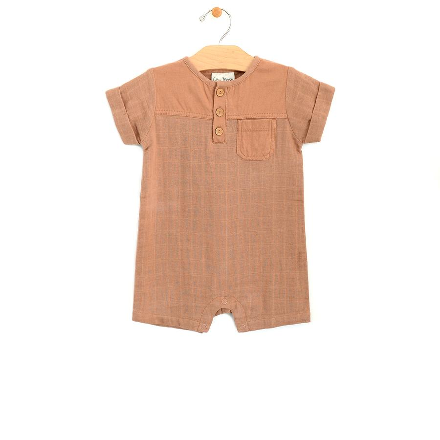 City Mouse Latte Muslin Short Romper - The Milk Moustache