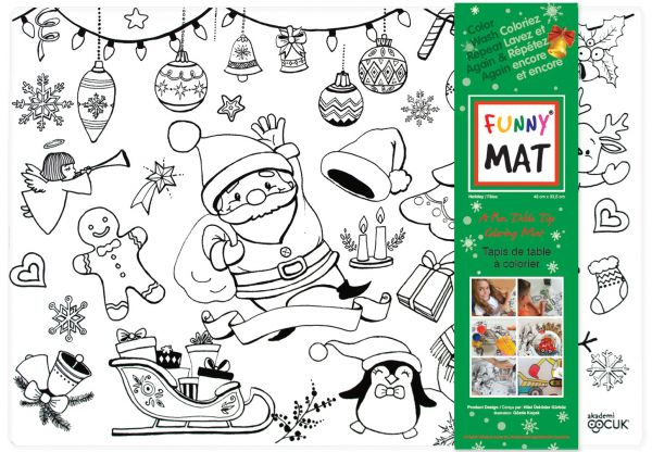 Funny Mat Color & Wash Place Mat - Holiday (White) - The Milk Moustache