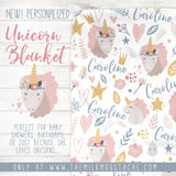 Custom Personalized Name Blanket - Unicorn Dreams
