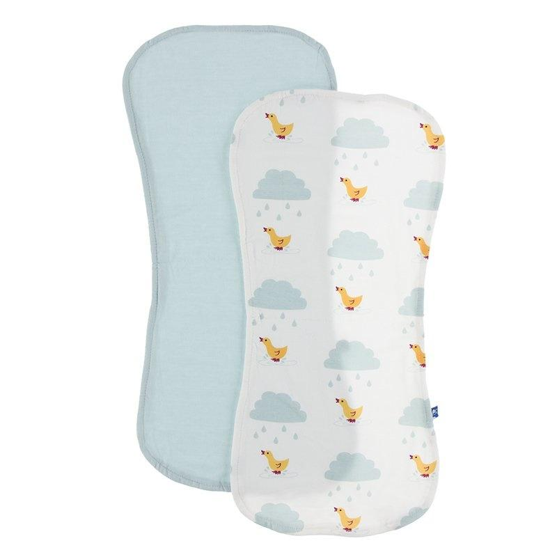Kickee Pants Burp Cloth Set Meteorology Collection - Natural Puddle Duck - The Milk Moustache