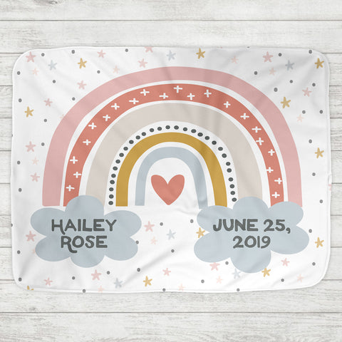 Custom Personalized Name Blanket - Rainbow Baby - The Milk Moustache
