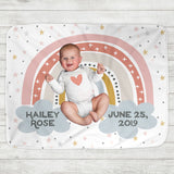 Custom Personalized Name Blanket - Pink Rainbow Baby - The Milk Moustache