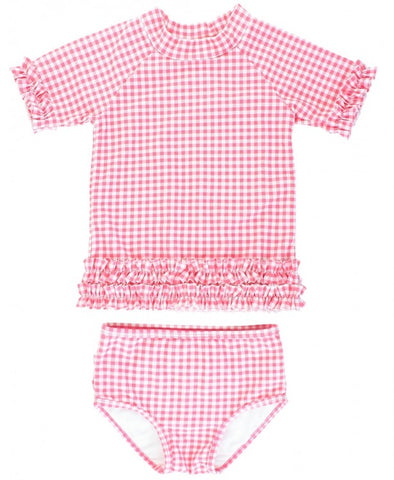 Rose Gingham Ruffled Rash Guard Bikini - The Milk Moustache