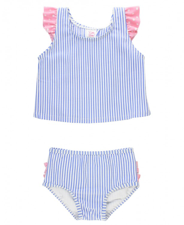 Periwinkle Blue Seersucker Tulip Back Tankini - The Milk Moustache