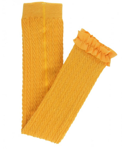 Cable Knit Footless Ruffle Tights - Golden Yellow