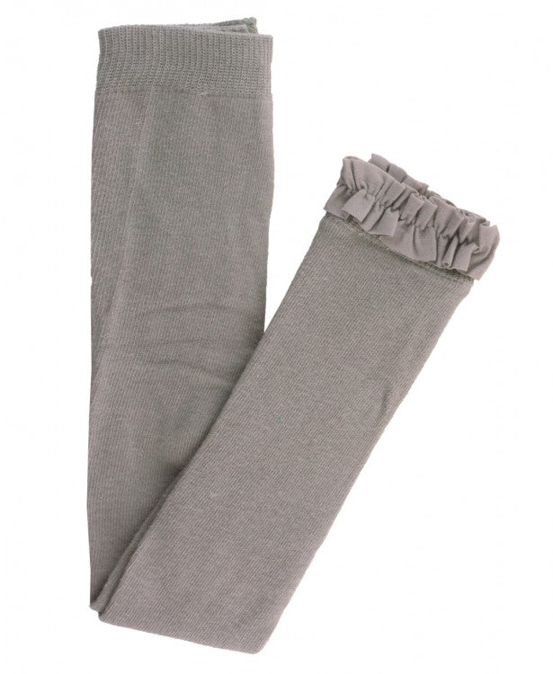 Knit Footless Ruffle Tights - Gray