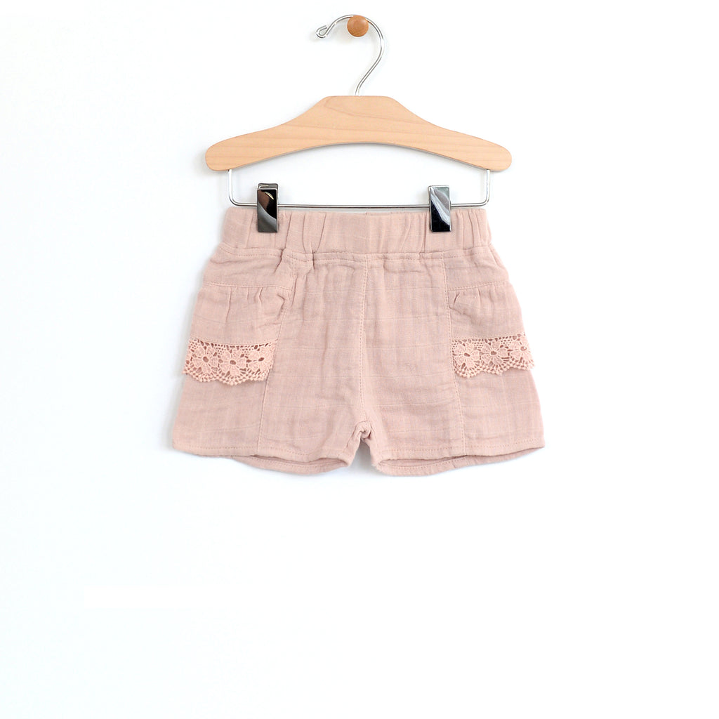 City Mouse Soft Rose Woven Lace Pocket Short - The Milk Moustache