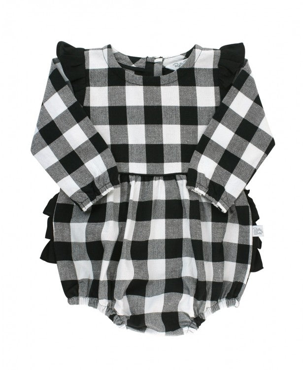 Black & White Plaid Bubble Romper - The Milk Moustache