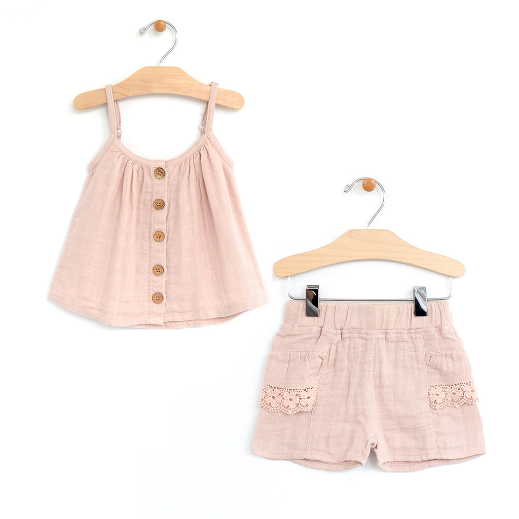 City Mouse Soft Rose Woven Flowy Tank and Lace Pocket Short Set - The Milk Moustache