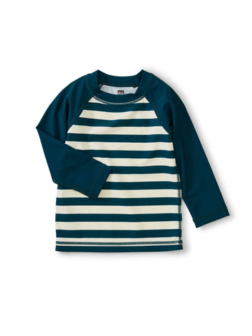 Tea Collection Colorblocked LS Baby Rash Guard in Tidal Stripe