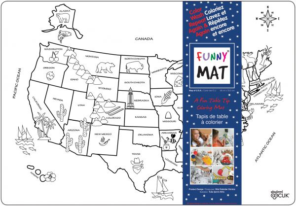 Funny Mat Color & Wash Place Mat - USA (White)
