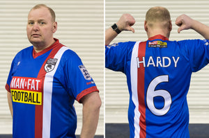 MAN v FAT Football official shirt blue front and back