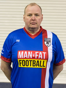 MAN v FAT Football official shirt blue