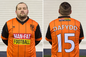 MAN v FAT Football official shirt orange front and back