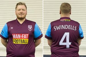 MAN v FAT Football official shirt purple front and back