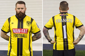 MAN v FAT Football official shirt yellow front and back