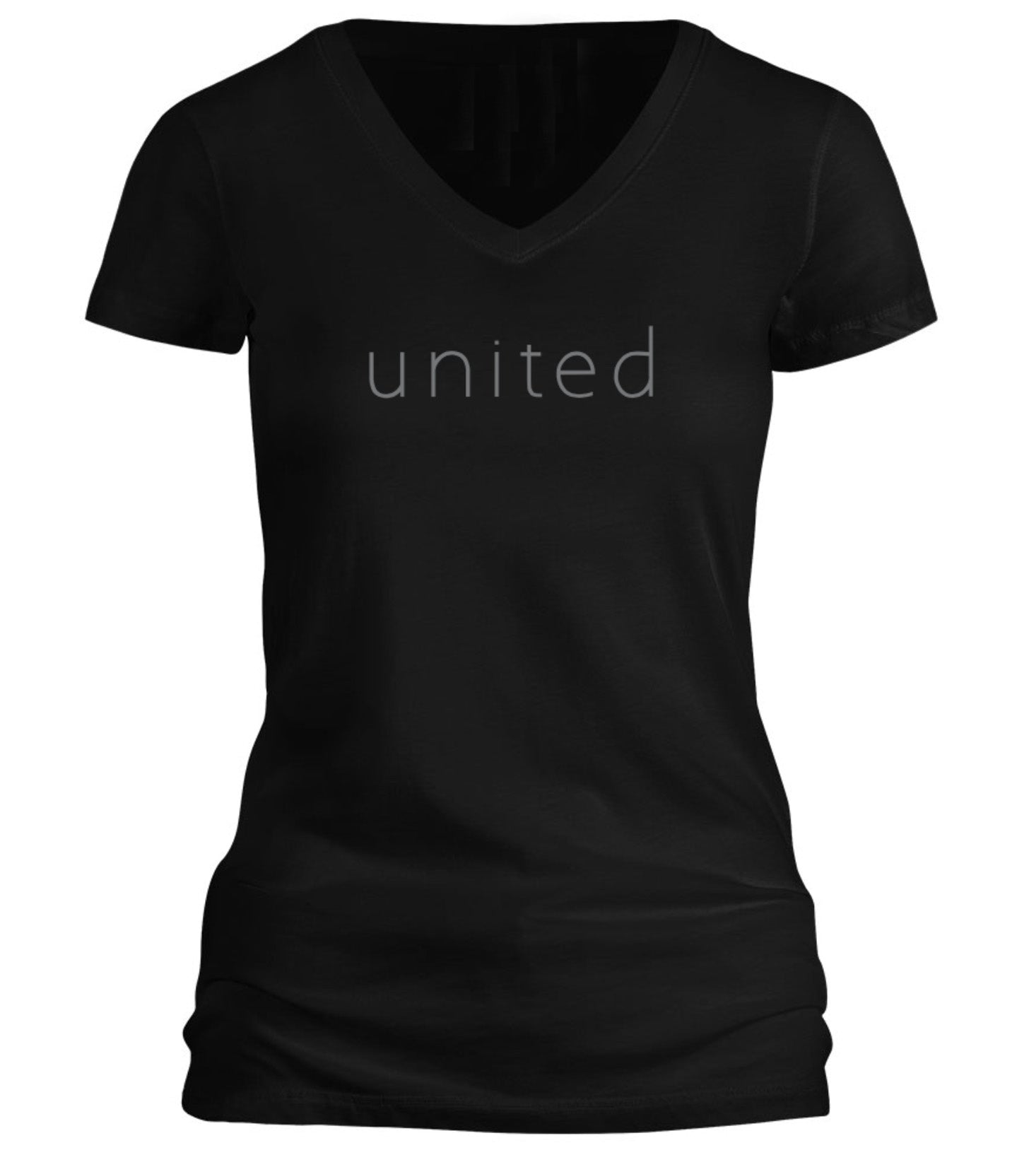 "WOMENS SLIMFIT ""UNITED"" V-NECK TEE"