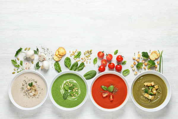 A range of homemade soups